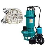 Tauchpumpe 1500W IBO 1,5 kW mit Zerkleinerer + 2' Storz C + 20m Schlauch - Pumpe, Wasserpumpe, SCHMUTZWASSERPUMPE, SCHNEIDWERK, FÄKALIENPUMPE mit Bauschlauch