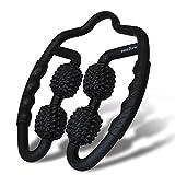 easeZone Massageroller, Faszien & Massagegerät mit Griff für Selbstmassage. Entspannung von Nacken, Oberschenkel, Unterarm, Wade, Füße und Beine. Faszienroller, Triggerpunkt & Massagerolle (Black)