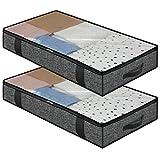homyfort 2 Stück Premium Unterbettkommode mit Sichtfenster, Unterbett-Aufbewahrungstasche Kleideraufbewahrung, Decken Organisator Lagerbehälter, 4 Haltegriffen, 100x50x15cm, Schwarz Leinen, DEXAUBBP2