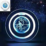 DXQDXQ Magnetischer Schwebender Globus Weltkarte mit Bunter LED-Beleuchtung Circular Schwimmende Rotating Levitating Globe Verwendung als Schreibtisch Dekoration (Color : Multi-Colored 6in)