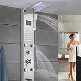 Duschpaneel, LED Thermostat Edelstahl Duschpaneel, Duschsystem mit LCD Display Regendusche, Wasserfalldusche, Massagedusche, Handbrause, Badarmatur, Wandmontierte Duschsäule 5 Modi für Zuhause
